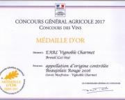 MEDAILLE D'OR CONCOURS GENERAL AGRICOLE PARIS 2017 - CUVEE MASFRAISE 2016