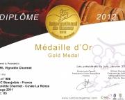 Médaille d' OR au concours international du Gamay 2012